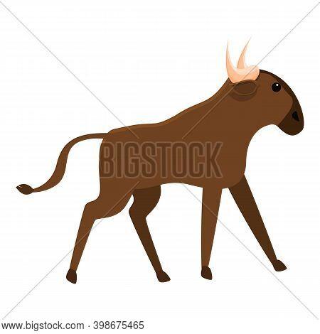 Mammal Wildebeest Icon. Cartoon Of Mammal Wildebeest Vector Icon For Web Design Isolated On White Ba