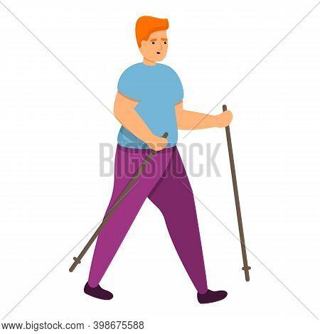 Fat Boy Nordic Walking Icon. Cartoon Of Fat Boy Nordic Walking Vector Icon For Web Design Isolated O