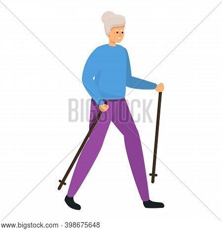 Senior Woman Nordic Walking Icon. Cartoon Of Senior Woman Nordic Walking Vector Icon For Web Design