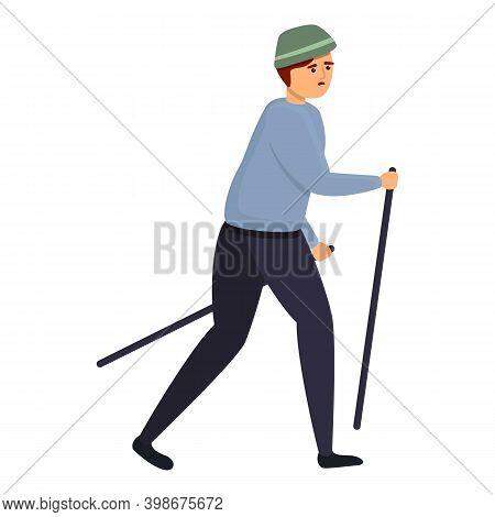 Boy Tired Nordic Walking Icon. Cartoon Of Boy Tired Nordic Walking Vector Icon For Web Design Isolat