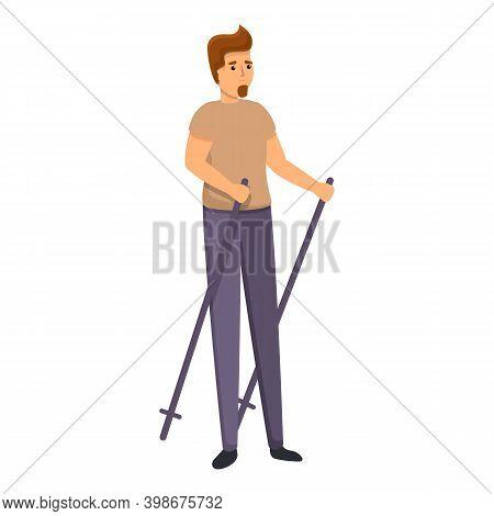 Bearded Boy Nordic Walking Icon. Cartoon Of Bearded Boy Nordic Walking Vector Icon For Web Design Is