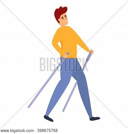 Sticks Nordic Walking Icon. Cartoon Of Sticks Nordic Walking Vector Icon For Web Design Isolated On