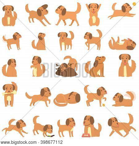 Playful Dog Icons Set. Cartoon Set Of Playful Dog Vector Icons For Web Design