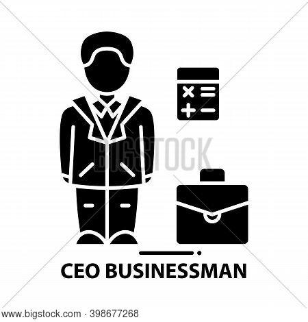 Ceo Businessman Icon, Black Vector Sign With Editable Strokes, Concept Illustration