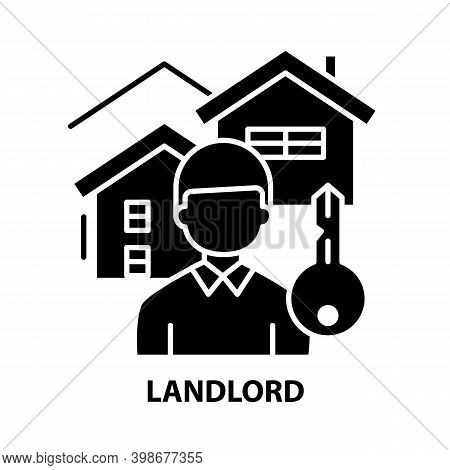 Landlord Icon, Black Vector Sign With Editable Strokes, Concept Illustration