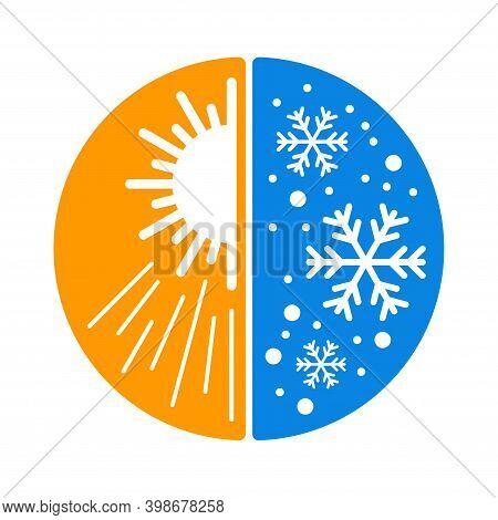 Climate Change Or Multi-seasonal Icon - Visualization Of Hot And Cold Temperature Control - Symbol O