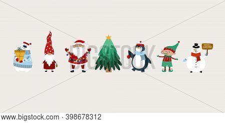 Christmas Banner With Santa Claus, Gnomes, Christmas Tree, Elves, Polar Bear, Penguin, Snow Man. Chr