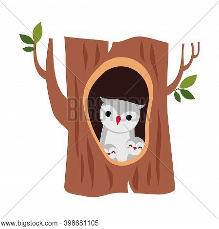 Cute Owl With Little Owlet As Forest Habitant Sitting In Tree Hollow Vector Illustration