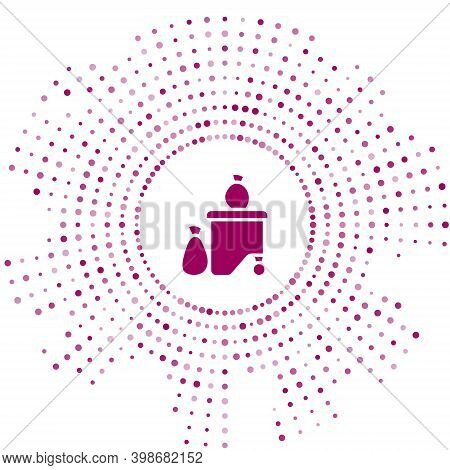 Purple Dumpsters Being Full With Garbage Icon Isolated On White Background. Garbage Is Pile Lots Dum