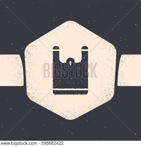 Grunge Plastic Bag Icon Isolated On Grey Background. Disposable Cellophane And Polythene Package Pro