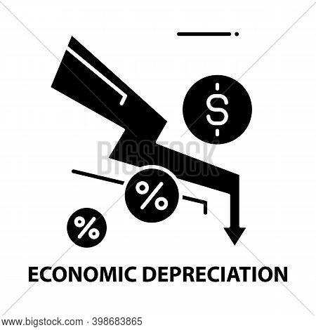 Economic Depreciation Icon, Black Vector Sign With Editable Strokes, Concept Illustration