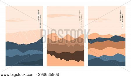 Japanese Background With Mountain Line Wave. Abstract Landscape With Japanese Pattern. Design Mounta