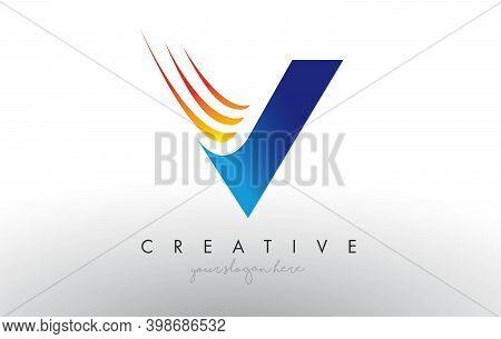 V, V, Blue, Orange, Minimalist, Typography, Logo, Corporate, Business, Concept, Vector, Sign, Symbol