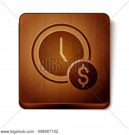 Brown Time Is Money Icon Isolated On White Background. Money Is Time. Effective Time Management. Con