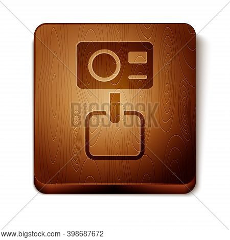 Brown Action Extreme Camera Icon Isolated On White Background. Video Camera Equipment For Filming Ex