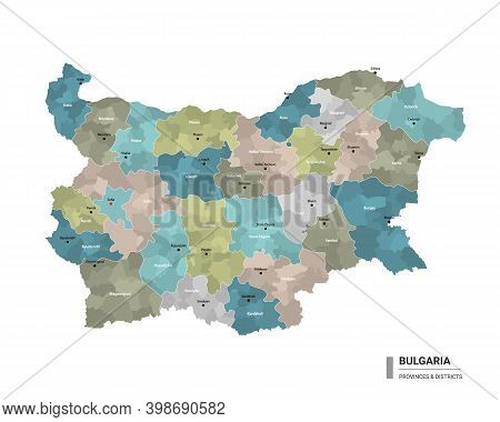 Bulgaria Higt Detailed Map With Subdivisions. Administrative Map Of Bulgaria With Districts And Citi
