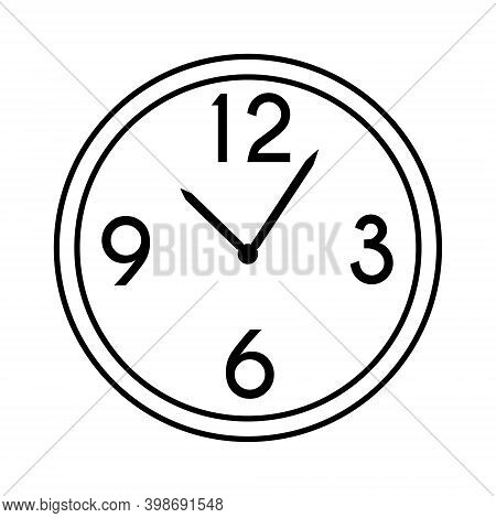 Wall Round Mechanical Clock With Hands And Numbers 12 3 6 9. Chronograph Timekeeping Device. Hand Dr