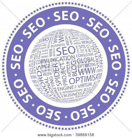 SEO. Word collage. Vector illustration.