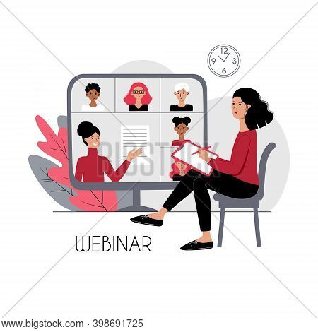 Educational Webinar Lecture Stock Flat Concept Illustration. Young Woman Listening Lesson At Home. C