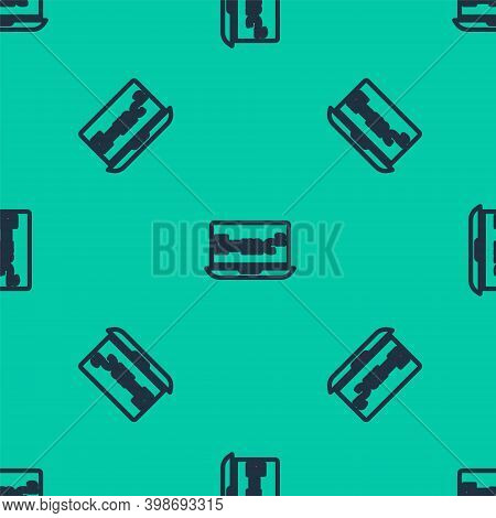 Blue Line Math System Of Equation Solution On Laptop Icon Isolated Seamless Pattern On Green Backgro