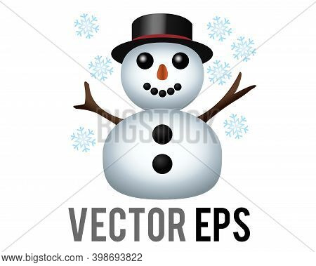Vector Classic Snowman Made From Two Large Snowballs Icon With Snowflake