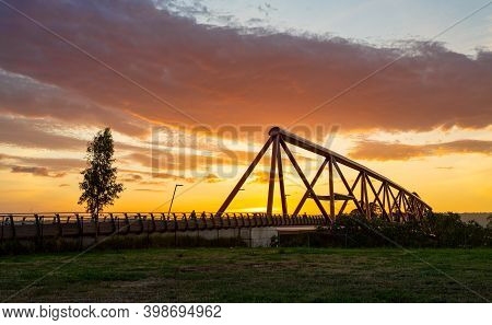 Sunset At Nepean River Penrith With Yandhai Nepean Crossing Bridge