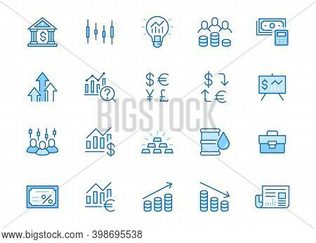 Investment Line Icon Set. Stock Market, Bond, Financial Analysis, Broker, Income Increase Minimal Ve