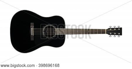 Musical Instrument - Black Acoustic Guitar Isolated On A White Background.