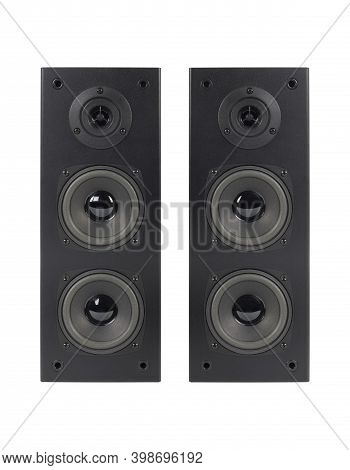 Music And Sound - Front View Three Line Array Loudspeaker Enclosure Cabinet Isolated On A White Back