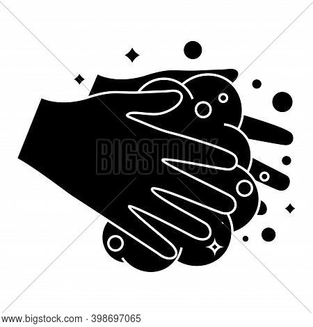 Hands Washing With Soap Foam. Wash Your Hands, Icon. Hand Washing Procedure Glyph Icon. Everyday Hyg