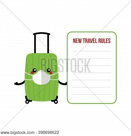 Vector Cartoon Style Suitcase, Travel Bag, Luggage Character In Medical Face Mask Holding Travel Car