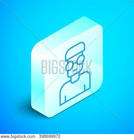 Isometric Line Nerd Geek Icon Isolated On Blue Background. Silver Square Button. Vector