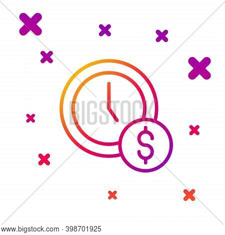 Color Line Time Is Money Icon Isolated On White Background. Money Is Time. Effective Time Management