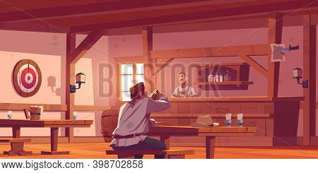 Man In Beer Pub, Retro Tavern Or Antique Bar Interior With Barista Stand At Desk, Benches And Tables