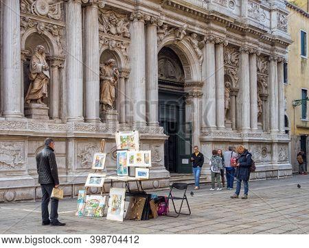 Venice, Veneto, Italy - November 24, 2016: Street Art On Sale In Front Of The Church Of Saint Mary O