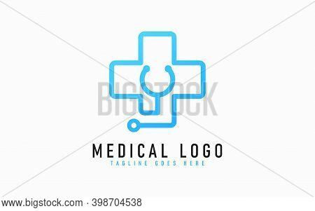 Blue Medical Logo Design. Abstract Medical Cross Symbol Design Combine With Stethoscope Usable For B
