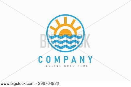 Sun And Wave Logo Design. Nautical Logo Design With Sun And Wave Combination In The Circle Symbol De