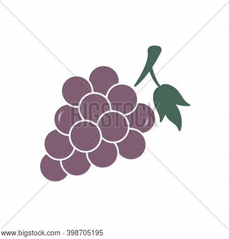 Grapes Icon In Flat Style Isolated, Vector