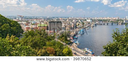 View Of Podil From An Observation Point Over The Dnieper. Kiev, Ukraine