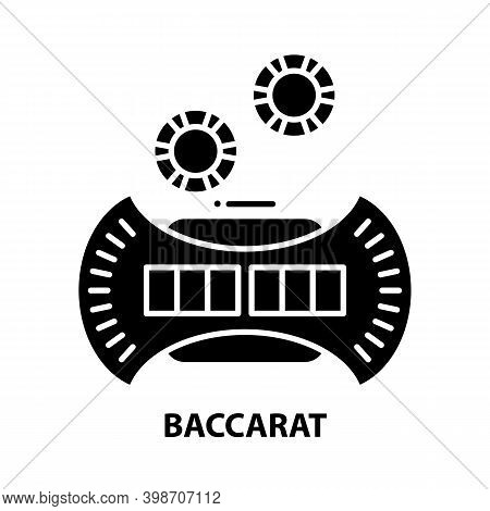 Baccarat Icon, Black Vector Sign With Editable Strokes, Concept Illustration