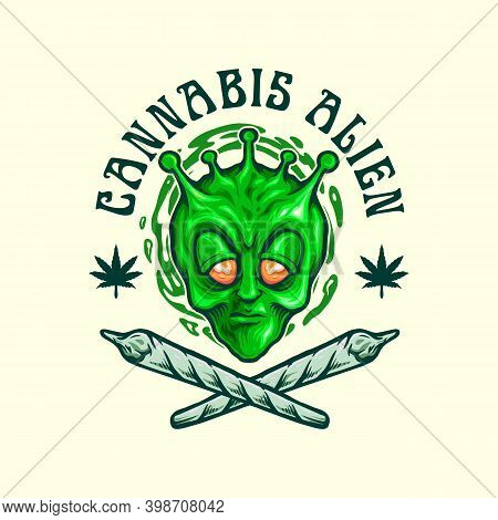 Cannabis Alien Join Weed Emblem For Your Work Logo Merchandise Clothing Line, Stickers And Poster, G