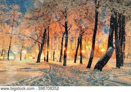 Christmas background, Christmas lights in evening city. Winter night landscape with Christmas mood, winter Christmas night park with falling winter snowflakes