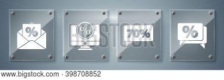 Set Discount Percent Tag, Seventy Discount Percent Tag, Percent Discount And Monitor And Envelope Wi