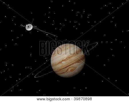 Nave espacial Voyager cerca de Júpiter y su anillo desconocido - Render 3D