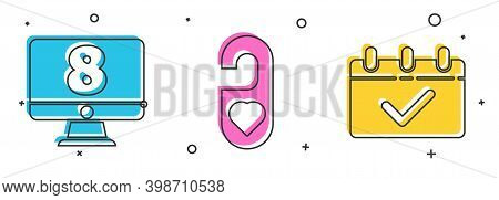 Set 8 March On Monitore, Please Do Not Disturb With Heart And Calendar With 8 March Icon. Vector