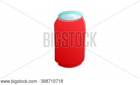 Tin Bottle On White Background, Vector Illustration. Bottle For Drinks And Lemonades. Container For