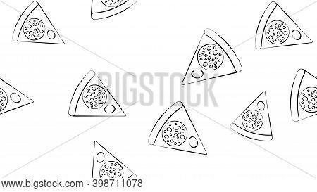 Slice Of Pizza On A White Background, Vector Illustration, Black And White Pattern. Pizza With Vario