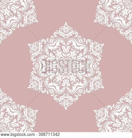 Classic Seamless Pattern. Damask Orient Purple And White Ornament. Classic Vintage Background. Orien