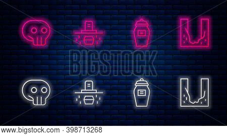 Set Line Grave With Coffin, Funeral Urn, Skull And Cemetery Digged Grave Hole. Glowing Neon Icon On