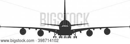 Silhouette Of An A 380 Passenger Plane On A Landing Gear.